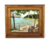 VTG Naive Primitive Folk Art Oil Painting New England Lake Mountain Birch Trees
