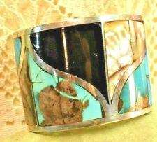 "Artisan Statement Vintage Sterling Huge Wide BlueTurquoise Onyx 8"" Cuff Bracelet"