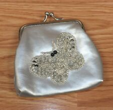 Small Unbranded Silver Tone With Shiny Beaded Butterfly Change Purse / Pouch!