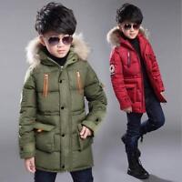 Kids Jacket Boys Girls Childrens Coat Fur Hoodie Warm Windbreak Padded Zip