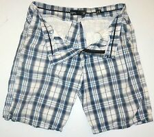 Mens 36 BKE Broderick Slim Fit Casual Blue White Plaid Shorts Cotton 24 Outseam
