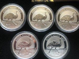 FIVE (5) 2018 Australian Silver 1oz. Emu BU 1st Coin in Series 30,000 Mintage