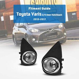2Pcs Front Grills Bumper Driving Halogen Lamp Fog Lights For Toyota Yaris 15-17