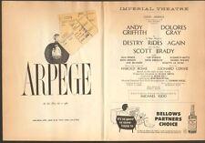 DESTRY RIDES AGAIN w/ Andy Griffith 1959 Playbill w/ ticket stub