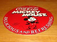 "VINTAGE 1928 DRINK MICKEY MOUSE COCA COLA 11 3/4"" PORCELAIN METAL SODA GAS SIGN!"