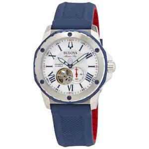 Bulova Marine Star Automatic Silver White Dial Men's Watch 98A225