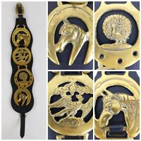 Vintage Horse Harness Brass Medallion Decoration Set of 4 Leather Strap Wall