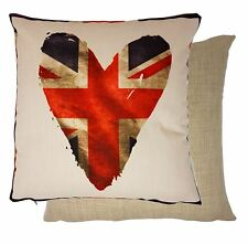Corazón Bandera Reino Unido Rojo Azul Tejido 43.2cm-43cm Funda De Cojín