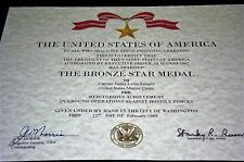 Bronze Star Medal Replacement Certificate