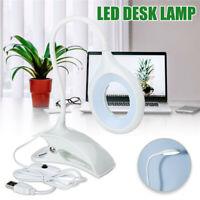 LED Lampe USB Table Lecture Bureau Chevet Veilleuse Clamp Flexible Rechargeable