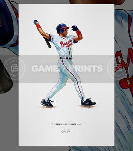 Fred McGriff Atlanta Braves Crime Dog Baseball Illustrated Print Poster Art