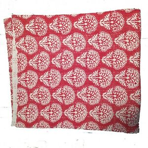 Indigo Blue Kantha Quilt Hand Block Print Kantha Bed Cover Double Tree