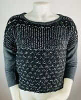 Dolan Anthropologie Small Women's Knit Blouse Elbow Sleeve Sweater Pullover Blac