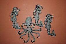 (4) Mermaid Wall Hook Set, Mermaid Decor, Octopus Decor, Nautical Bronze-Look
