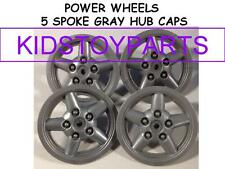 4 GRAY POWER WHEELS 5 SPOKE HUB CAPS FOR JEEPS AND TRUCKS