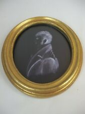 1of2 Silhouette Portrait Male Black & White in Gold Gilt Frame Under Glass