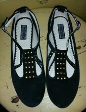 DEENA & OZZY BLACK SUEDE STUDDED FLATS PUNK HOLIDAY 8 M DRESS SHOES MARY JANES
