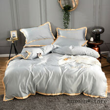 Home Textile Golden Rim Satin Silk Bedding Set Embroidery Bed Duvet Cover Sheet