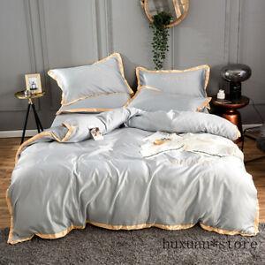 Home Textile Golden Rim Satin Silk Bedding Set Embroidery Bed Duvet Cover Sheet