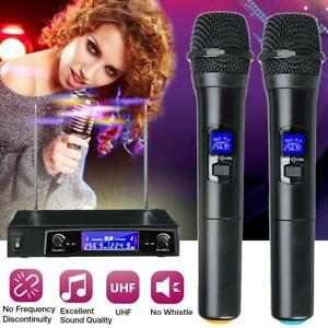 Professional 2 Channel Wireless Microphone Mic System Dual Handheld Karaoke
