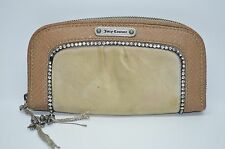 Juicy Couture Beige/Tan Velour And Snake Embossed Leather Trim Zip Around Wallet