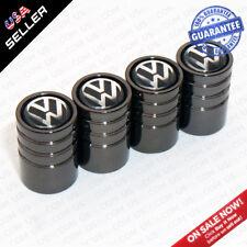 Black Chrome Car Wheel Tyre Tire Air Valve Caps Stem Cover With VW Emblem