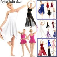 Contemporary Lyrical Women Adult Asymmetric Ballet Dance Dress Chiffon Maxi Dres