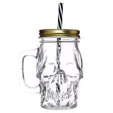 Skull Drinking Glass Mason Jar Tankard 13cm High Mug Metal Lid & Straw Gothic
