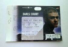 JUSTIN TIMBERLAKE MEMORABILIA - Ticket Stub(s) Earls Court London 07/12/03