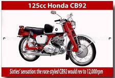 HONDA CB92 125CC METAL SIGN.VINTAGE JAPANESE MOTORCYCLES.SIXTIES 125CC
