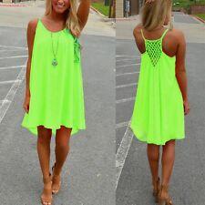 Plus Size 8-24 Women's Casual Sleeveless Evening Party Beach Short Mini Dress Green 18