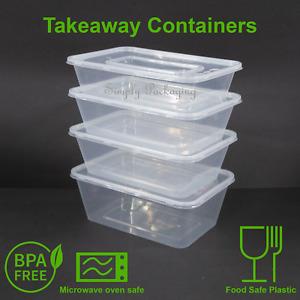 Takeaway Food Containers Plastic Lids rectangular 500ml 650ml 750ml 1000ml