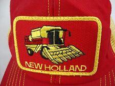 VTG NEW HOLLAND COMBINE SNAPBACK MESH Patch CAP Trucker Farmer DISTRESSED USA