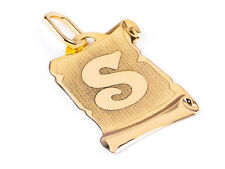 WOMEN'S LETTER NAME S PENDANT - SOLID 14k YELLOW GOLD 585