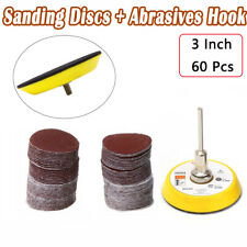 60PCS 76mm Sanding Discs +3 inch Abrasives Hook & Loop Backing Pad+Drill Adaptor