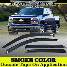 2014-2018 Chevy Silverado GMC Sierra 1500 4DR Crew Cab 4PC Smoke Rain Guards