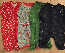 Lot Of 4 Baby Boy 6 months Cotton Spring Footed Sleeper Pajamas Jumpsuit Pjs