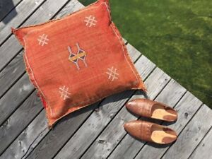 Vintage Washed Orange Sabra Silk Cactus Pillow Cover Handmade Kilim Rug