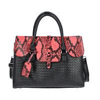 Shop LC Black Snake Skin Pattern 100% Genuine Leather Satchel Bag Women Handbag