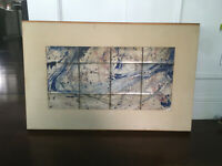 Vintage Mid Century Modern Abstract Oil Cloth Mixed Media Painting