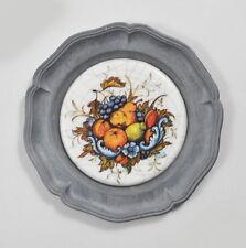 Untersetzer Zinn mit Porzellan / Keramik (Kunst-Craquele) Obst Birne Zitrone