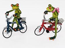 ☼ Formano Frosch mit Fahrrad ca. 17 cm hoch Kunststein hellgrün glänzend Frösche