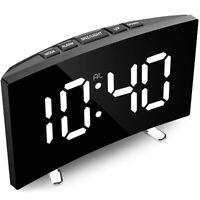 Digital Alarm Clock,7 Inch Curved Dimmable LED Screen Digital Clock for Ki H5R7