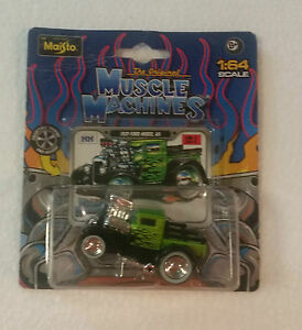 1:64 1929 FORD MODEL AA PICK UP MUSCLE MACHINES HOT ROD DIE CAST GREEN