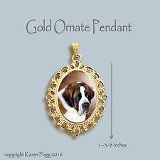 Saint Bernard Dog - Ornate Gold Pendant Necklace