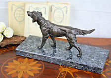 ART deco 1930 French Bronze Dog german sheperd  marble base