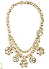 NWT GUESS Hannah Gold tone Multi Chain Charm Statement Necklace Floral