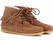 NIB SAINT LAURENT SHEARLING FUR Lined Fringe Moccasins Winter Shoes EUR-38 US-8