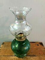 """Vtg Antique Round Bubble Green Glass Hurricane Clear Shade Oil Kerosene Lamp 14"""""""