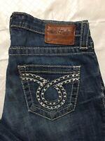 Big Star Liv Bootcut Jeans Tag Size 28R Distressed Stretch Denim Heavy Stitch